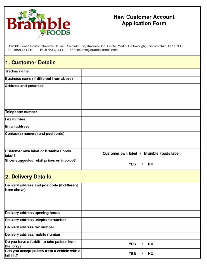 new customer account form template – T Accounts Template Word