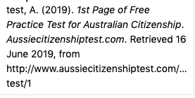 1st page of free practice test for australian citizenship